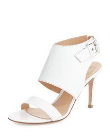 Leather Halter Sling Sandal, Bianco White