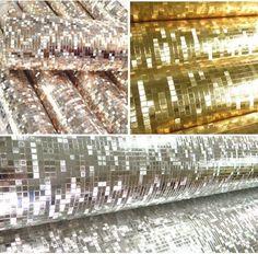 Mini Mosaic Tiles Luxury Metallic Design Glitter Silver/gold foil wallpaper roll #OEM