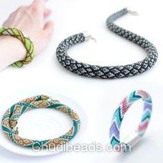 Crochet bead necklace tutorial at Chudibeads.com