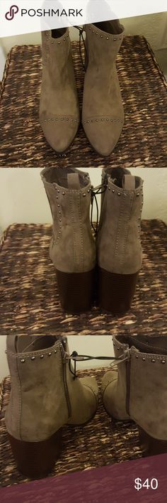 NWOT Express studded booties Very feminine taupe colored booties with inside zipper Heel 3.5 inches Express Shoes Ankle Boots & Booties