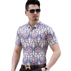 Shirts For Men Short Sleeve Summer Comfortable Single Breasted Print Slim Floral Camisa Hombre Hawaii Beach Casual Male Shirts