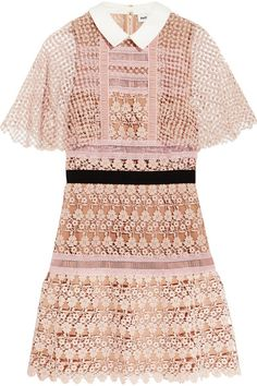 Self-Portrait - Guipure Lace Mini Dress - Blush - UK
