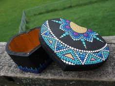 Beautiful one-of-a-kind collectible heart shaped wooden hand-painted dot mandala box with detailed sides! Box design is inspired by both Egyptian pyramids and Mayan Sun Art with purple, teal, blue and gold details. Box has a removable top with magnetic closure and the inside is