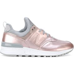 New Balance 574 sneakers (€95) ❤ liked on Polyvore featuring shoes, sneakers, pink, leather sneakers, real leather shoes, synthetic shoes, synthetic leather sneakers and leather trainers