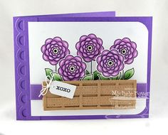 handmade card ... luv the woven basket holding  sylized roses ... bright purple card ... My Favorite Things ...