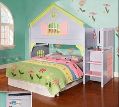 Princess Loft Bunk Bed with FREE SHIPPING nationwide... from Bunk Bed Kingdom.  http://www.bunkbedkingdom.com/princess-reversible-stairway-loft-bunk-bed-lavender-pink-lime/