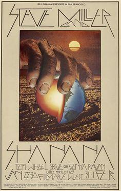 1969 Steve Miller Band Concert Poster with Sha Na Na, Ten Wheel Drive & Genya Raven (Fillmore West, San Francisco, CA)