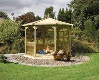 Regis is a large and elegant wooden garden gazebo with half timber panel sides measuring 4m in diameter by 3.2m in height making it the perfect shelterd garden entertaining space! Or home for a hot tub perhaps? #WoddenGardenGazebos #AWBSGardenFurniture