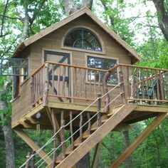 tree house railing ideas | Ideas For Custom Whimsical Playhouse Designs For Your Outdoor-Space