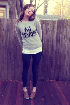Cute French sweater + oxfords