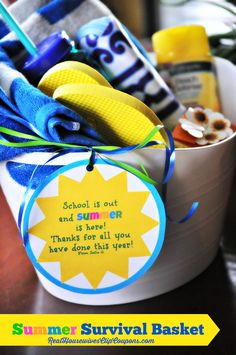 End of the Year Teacher Gift - Summer Survival Baskets