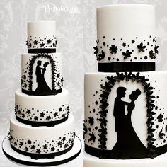 A 4 tier version of our popular silhouette cake! #4tiers #silhouette #blackandwhite #weddingcake