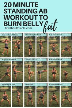Try these 9 standing ab exercises if you're sick of getting down on the nasty gym floor to do crunches and leg lifts! They are great for toning and burning belly fat! Ab Workout for Busy Women Ab Core Workout, Best Ab Workout, Workout Ideas, Core Workout Women, Sick Workout, Leg And Ab Workout, Core Workout Routine, Ab Workout For Women At Home, Core Workouts