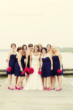 Pink + Navy Blue Wedding love the colours minus the shoes..SORRY lol