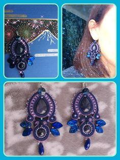 Soutache earrings , Cairo night, navy blue, purple