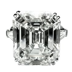 17.95ct Emerald Cut Diamond in Classic Ring with side Baguettes