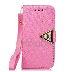 Grid Pattern Buckle Shining Diamond Flip Stand Leather Wallet Case with Card Slots for iPhone 5C With Strap(Pink)