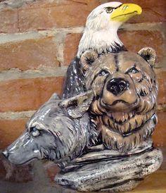 eagle wolf bear dry brush (3 spirits)
