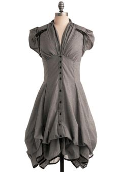 Studio Sweetheart Dress - Grey, Checkered / Gingham, Pockets, Ruffles, A-line, Maxi, Short Sleeves, Long, Vintage Inspired, 40s, Steampunk, Cotton $139