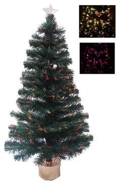 4' Multi-Color Fiber Optic Christmas Tree w/ 130 Fiber Optic Tips and Top Star by Merske