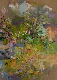 Oil on linen canvas painting of the artists garden in summer. The painting shows a pink climbing rose, white flowers and buddleia bush. Blue hills in the distance and a rain laden sky. Irish Landscape, Contemporary Landscape, Landscape Art, Landscape Paintings, Garden Painting, Climbing Roses, Bedroom Art, Summer Garden, Amazing Nature