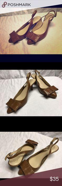 Franco Sarto leather kitten heels Tan Franco Sarto leather kitten heels. Worn once. Size 5 1/2. Excellent shape Franco Sarto Shoes Heels