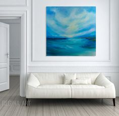 Large Blue Abstract Landscape - Sea and Sky Panoramic Art. This is an original one of a kind modern painting. Large Abstract Wall Art. Immerse