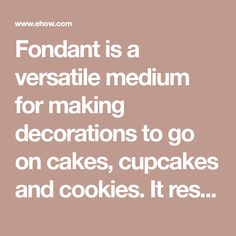 Fondant is a versatile medium for making decorations to go on cakes, cupcakes and cookies. It resembles modeling clay and can be colored and painted as desired. When coloring...