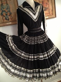 1950s Black and Silver 2 Piece Squaw Patio by AwwwShucks on Etsy, $55.00