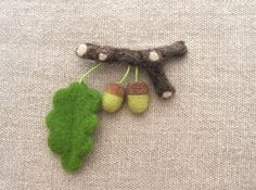 Needle felted brooch acorns needle felted brooch by CraftbyMaryla, $28.00