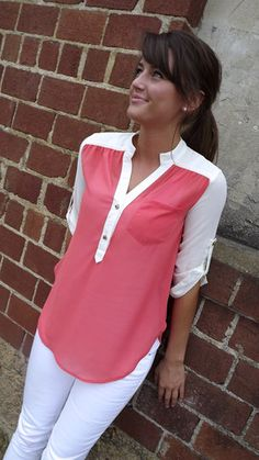 Stud Button Tunic in Coral