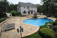Gunite Pool Patio & Coping  http://deckandpationaturalstones.com/gunite-inground-swimming-pool.html
