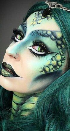 Medusa Halloween Costume, Dragon Halloween, Halloween Looks, Halloween Face Makeup, Halloween Ideas, Dragon Makeup, Alien Makeup, Makeup Art, Cosplay Makeup
