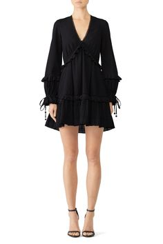 Rent Embroidered Ruffle V-Neck Dress by Jonathan Simkhai for $60 only at Rent the Runway.