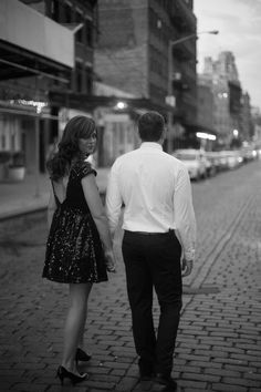 The cobblestone streets in black and white - classic New York. | New York City Highline Engagement Shoot Photos by Alicia Sturdy - www.aliciasturdy.com