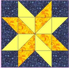Missouri Quilt Block Patterns | For the hunter star block you will need two contrasting star colors ...