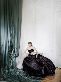 Dutch beauty Lara Stone, 32, is portrayed at the ultimate belle of the ball in an awe-inspiring picture by Mario Testino, taken in Carlton House Terrace in 2009