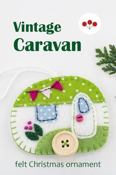 This cheerful vintage camper hanging ornament is handmade from felt with embroidered details.It has tiny felt bunting and buttons for the wheel and door knob..With blanket stitched edges and a cotton loop for hanging.The ornament is flat in shape, with a plain felt back.Size approx 3 x 2.5 inches / 7.5 x 6.5 cm. #feltchristmasornaments #vintagecaravan #vintagecamper #colourfulchristmas Felt Christmas Ornaments, Hanging Ornaments, Felt Bunting, Scandi Christmas, Vintage Caravans, Blanket Stitch, Door Knob, Handmade Felt, Camper