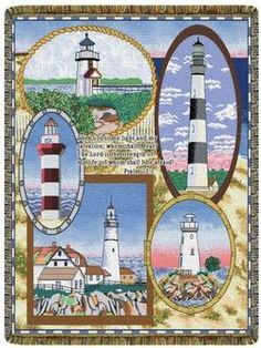 Lighthouse Psalm 27:1 Tapestry Throw