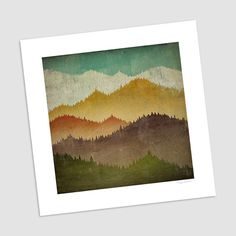 MOUNTAIN VIEW Smoky Mountains Green Mountains graphic art Giclee print 16x16 inches SIGNED