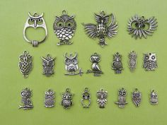 Another Owl Charm Collection - 19 different antique silver tone charms
