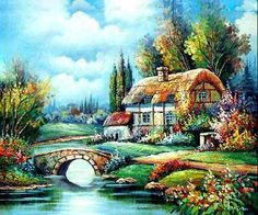 as a kid i always wanted to live in one of these little cottages : ) Fairytale Cottage, Cottage Art, Landscape Pencil Drawings, Landscape Paintings, Dream Painting, House Painting, Thomas Kinkade Art, Kinkade Paintings, Dream Pictures