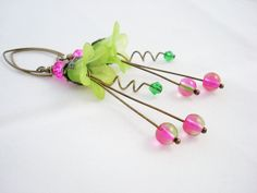 Lime Green and Hot Pink Lucite Flower Earrings by snowingstars