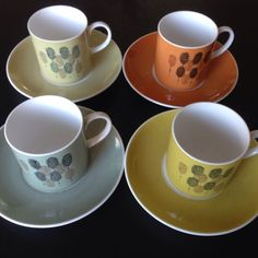 Vintage 1966 Susie Cooper For Wedgwood Harlequin Set Of 4 Coffee Cans & Saucers