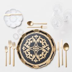 Black & Gold Florentine Charger + Signature Collection China + 24K Gold Flatware + Czech Crystal/Coupe Trios + Antique Crystal Salt Cellars | Casa de Perrin Design Presentation