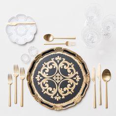 Black & Gold Florentine Charger + Signature Collection China + 24K Gold Flatware + Czech Crystal/Coupe Trios + Antique Crystal Salt Cellars   Casa de Perrin Design Presentation