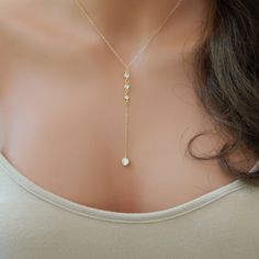 Gold CZ Lariat Necklace, Gold  Y Necklace, Wedding Lariat Necklace  XL136