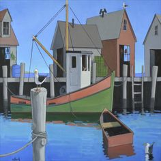 """Harbor Gulls"" by David Witbeck. Oil on Canvas, 40""x40"". *SOLD*  www.maine-art.com."