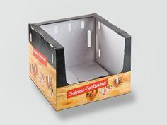 Regalsteigen für Fleischwaren mit frontseitiger Entnahme und Automatikboden zur manuellen Aufrichtung.  In twin secure- Technologie: kühlraumtauglich, migrationsunbedenklich. Außenseite mit 4-färbigem Offsetdruck. • #Dinkhauser #regalverpackung #twinsecure #offset #packaging #wellpappe #karton #nachhaltig #verkaufsverpackung #verpackungsdesign #lebensmittelverpackung Magazine Rack, Cabinet, Storage, Furniture, Home Decor, Technology, Food Packaging, Packaging Design, Shelf