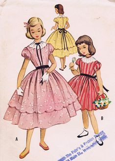 Mccalls Sewing Patterns, Vintage Sewing Patterns, Dress Patterns, Vintage Kids Fashion, Vintage Outfits, 1950s Fashion, Vintage Dress, Vintage Clothing, Thrift Store Outfits